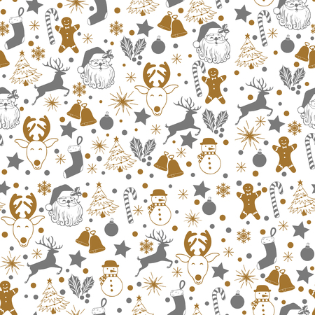 Christmas seamless gray and gold pattern on white background with deer, snowman, candy, sock, star, snowflake holiday icons, New Year celebration elements. Design for fashion print, wrapping. Stock Photo