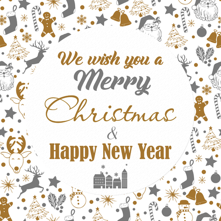 Christmas seamless gray and gold pattern on white background with deer, snowman, candy, sock, star, snowflake with text we wish you a Merry Christmas and Happy New Year. Stock Photo - 113702943