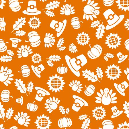 Autumnal Thanksgiving orange seamless pattern with turkeys, pumpkin, leaves illustration. 写真素材