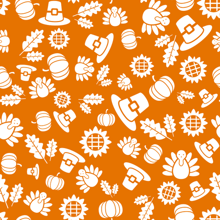 Autumnal Thanksgiving orange seamless pattern with turkeys, pumpkin, leaves illustration. Stock Photo
