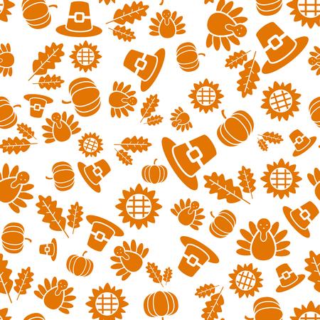Autumnal Thanksgiving orange and white seamless pattern with turkeys, pumpkin, leaves illustration.