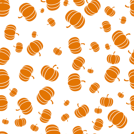 Autumnal Thanksgiving Halloween orange and white seamless pattern with pumpkin illustration.