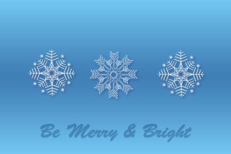 Snowflake Christmas design blue background. Three snowflake patterns to create brushes. Snow background. Merry Christmas. Card with snowflakes. Winter.