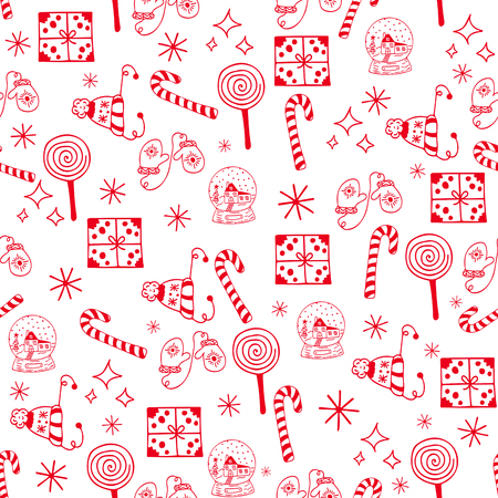 Seamless Christmas pattern red objects on white background