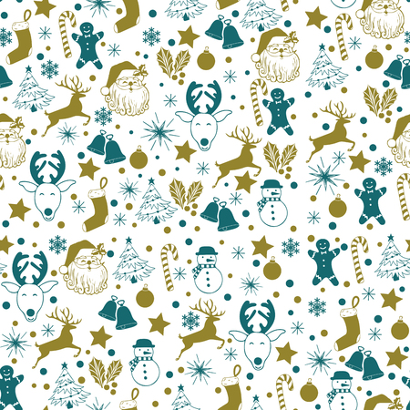 Christmas seamless gold and blue pattern on white background with deer, snowman, candy, sock, star, snowflake holiday icons, New Year celebration elements. Design for fashion print, wrapping.