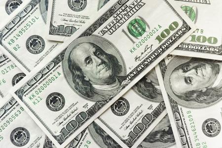 100 old dollar bills. Fan stack close up
