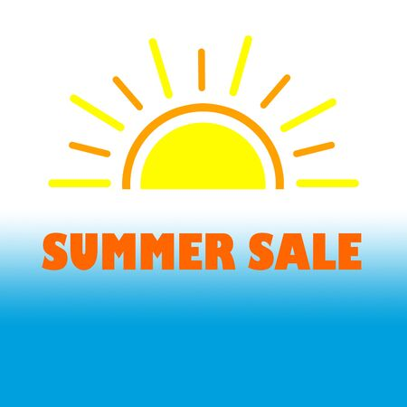 Summer Sale banner for promotion on white blue background.