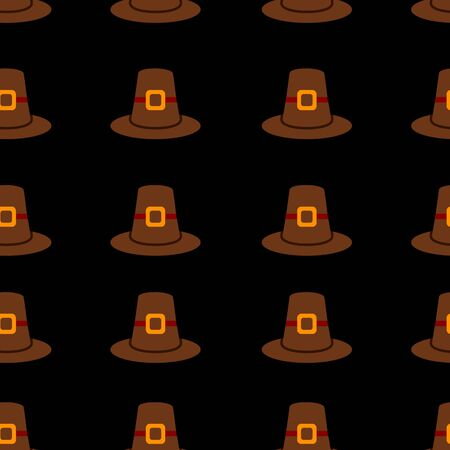 Seamless repeating Thanksgiving pilgrim hat background on black.