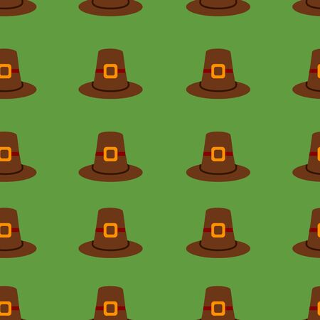 Seamless repeating Thanksgiving pilgrim hat background on green.
