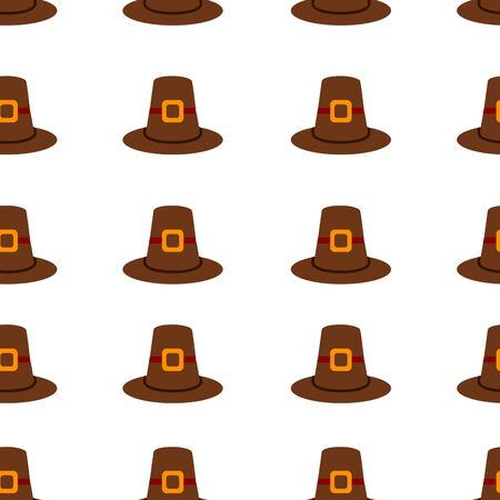 Seamless repeating Thanksgiving pilgrim hat background on white.