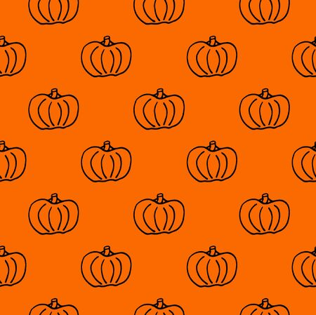Pumpkin seamless pattern. Black pumpkin background foe Harvest festival or Thanksgiving day. Halloween orange repeating print Stock Photo