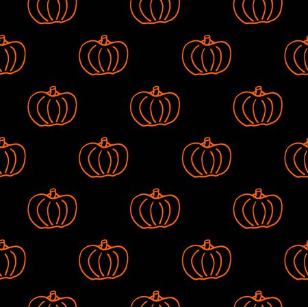 Pumpkin seamless pattern. Orange pumpkin background foe Harvest festival or Thanksgiving day. Halloween black repeating print