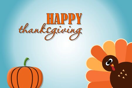 Happy Thanksgiving text Cartoon Turkey on blue gradient background Thanksgiving poster Stock Photo