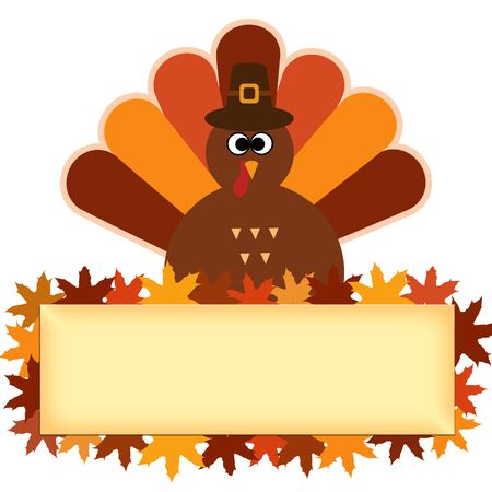 Happy Thanksgiving text Cartoon Turkey on white background Thanksgiving poster Foto de archivo - 131299931
