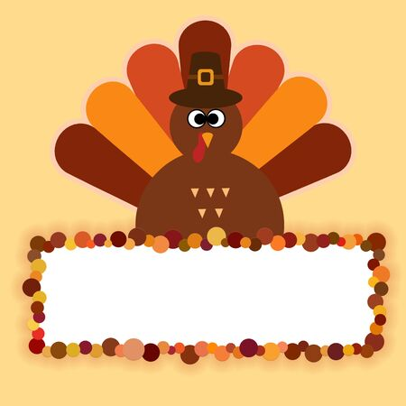 Happy Thanksgiving text Cartoon Turkey on orange background Thanksgiving poster Foto de archivo - 131299933