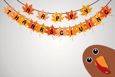 Happy Thanksgiving text Cartoon Turkey on white gradient background Thanksgiving poster. Hanging maple leaves with happy thanksgiving text.