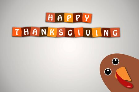 Happy Thanksgiving text Cartoon Turkey on white gradient background Thanksgiving poster Stock Photo