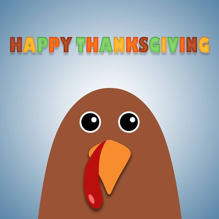 Happy Thanksgiving text Cartoon Turkey on white background Thanksgiving poster