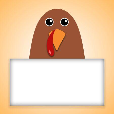Happy Thanksgiving text Cartoon Turkey on orange background Thanksgiving poster