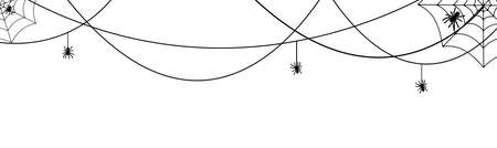 Halloween spiderweb border with hanging spiders. background for october night party and invitations