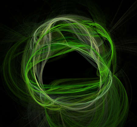 Abstract green fractal art background illustration space geometry. Background consists of fractal multicolor texture and suitable for use in projects imagination, creativity and design.