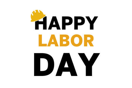 Happy Labor Day, lettering 1st may with yellow helmet. Labor Day banner background. International Workers day illustration for greeting card.