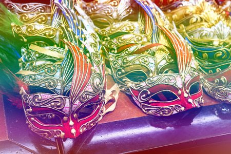 Colored mask at carnival in Venice, Italy. Stock Photo