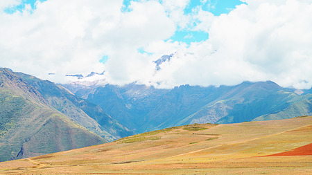 Panoramic View of landscape Maras far from Cusco, Peru.