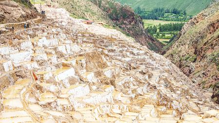Inca Salt pans at Maras, near Cuzco in Sacred Valley, Peru. Maras salt ponds.