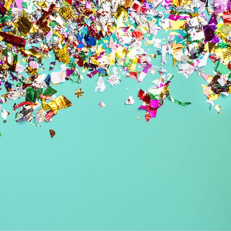 Bright party confetti on pastel neo mint color