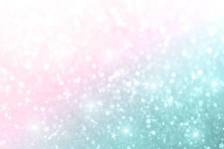 Natale Capodanno colorato sfondo pastello sfocato con fiocchi di neve e stelle lampeggianti. Festa sfocata bokeh, luci intense. concetto di inverno.