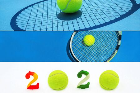 Creative collage inspired by tennis sport in New Year 2020. Christmas and New Year concept with tennis balls and holidays decorations. Winter sport healthy layout. Holiday conception.