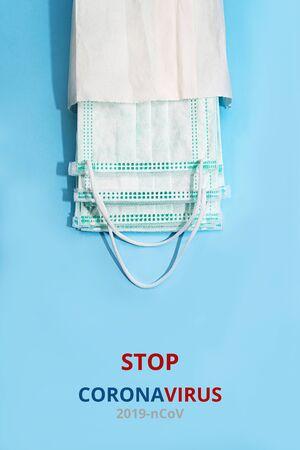 Medical masks. Novel coronavirus - 2019-nCoV. The inscription Stop Coronavirus. MERS-Cov middle East respiratory syndrome coronavirus. Stock Photo