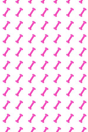 Pink dumbbell pattern on white background, isolated. Creative layout for sport fitness equipment, concept. Minimal style, flat lay, top view. Copy space. 版權商用圖片