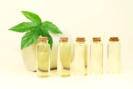 Glass bottles with herbal CBD oil, THC tincture and hemp leaf on pastel beige background. Flat lay, minimal style. Cosmetics CBD oil. Essential natural oils for face and body.