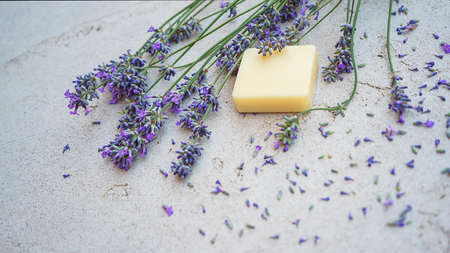 Lavender flowers and natural soap for bodycare on concrete background. Flat lay, top view. Copy space.
