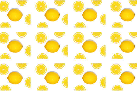 Pattern with lemon fruits. Tropical abstract geometric balance background, isolated. Lemon on white background.