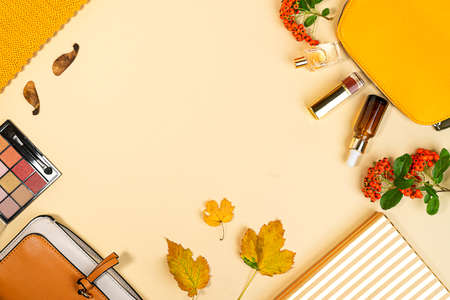Flat lay and top view of beauty make up products and cosmetics set on autumn yellow leaves background with copyspace. Beauty concept for blogger. 免版税图像