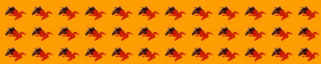Halloween minimal pattern made of fly and shadow on orange background. Autumn holiday fun concept. 版權商用圖片