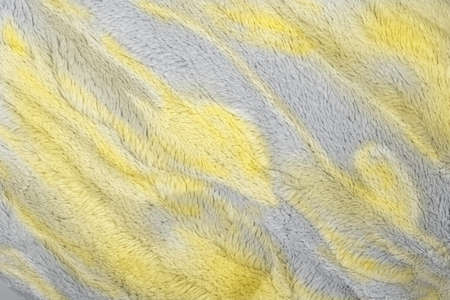 Concept of Color of the Year 2021 with bright illuminating yellow and gray colours. Faivorite colour of the New Year. Cloth colored in trendy colors. Concept for home design, interiors.