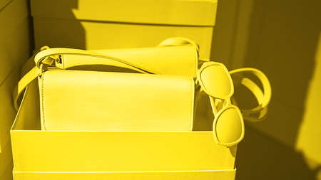 Bright illuminating yellow bag and glasses on gray color background.. Concept of Color of the Year 2021. Fashion outfit abstract art layout. Front view, copy space. Valentines day modern concept. 版權商用圖片