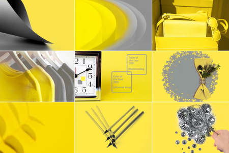 Collage of Color of the year 2021 with illuminating yellow and ultimate gray. Fashion outfit abstract layout. Valentines day, New Year concept. 版權商用圖片