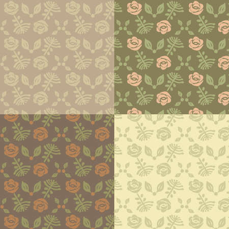 Set vintage seamless patterns with a cute flowers.Vector. Illustration