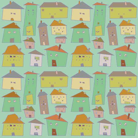 ねじれた家。シームレス パターン。ベクトル  イラスト・ベクター素材