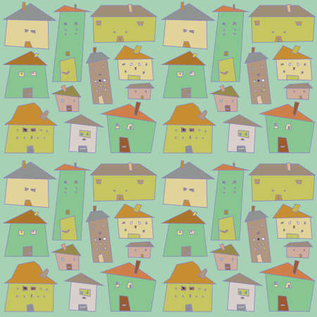 cartoon house: Crooked houses.Seamless pattern.Vector