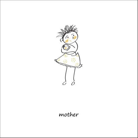 mother and baby: Mother with baby, isolated on white background.Vector Illustration