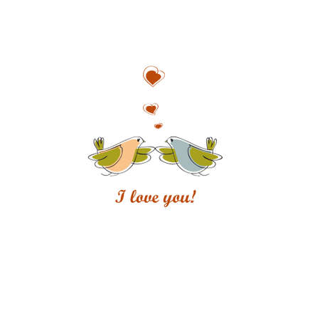 two birds: Two birds in love. Vector. Postcard. Valentines day. Illustration