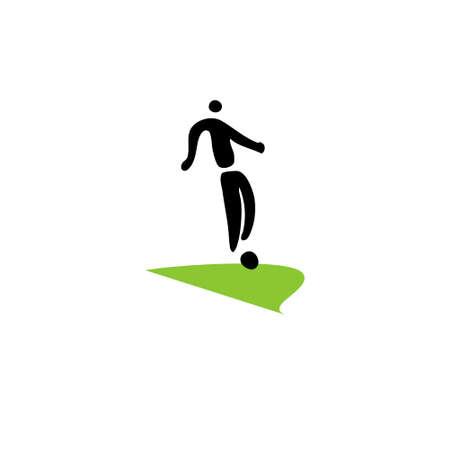 footballer: Silhouette footballer. Sign isolated on white background. Vector.