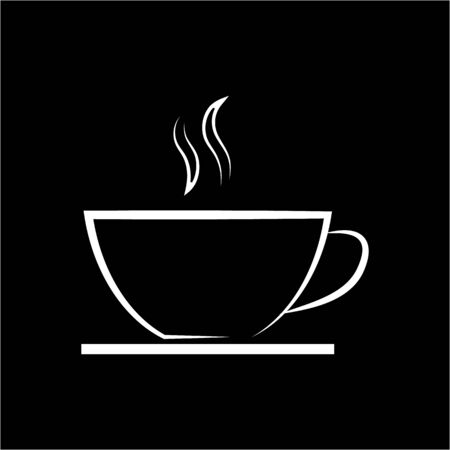 white coffee or tea cup icon on black background line template royalty free cliparts vectors and stock illustration image 130712789 white coffee or tea cup icon on black background line template