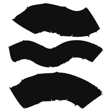 Set of black ink brush strokes shapes for decor of banners, frames, inscriptions, grunge design. Set of black paint, lines. Dirty artistic design elements. Vector illustration. Çizim